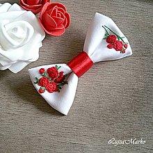 """Odznaky/Brošne - """"Červené ruže"""" dámsky motýlik - 8843041_"""