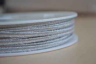 Galantéria - Šujtášová šnúrka metalická strieborná 3mm - 8842124_