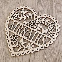 Polotovary - Vyrezané srdce MR&Mrs 15x15 cm, ihneď - 8844637_