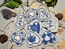 Dekorácie - Vianočné ozdoby - modrosrdcé (sada 15ks) - 8850331_