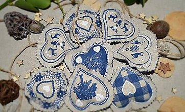 Dekorácie - Vianočné ozdoby - modrosrdcé (sada 15ks) - 8850332_