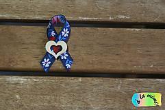 Pierka - Svadobné pierko Margarétkovomodré s dreveným srdiečkom s výrezom - 8848183_