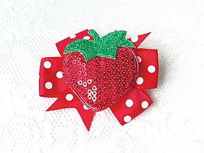 Ozdoby do vlasov - Strawberry in dots (clip) - 8849373_