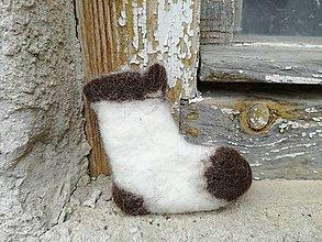 Dekorácie - Mikulášska ponožka bielohnedá - 8847903_