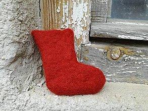 Dekorácie - Červená mikulášska ponožka - 8847924_