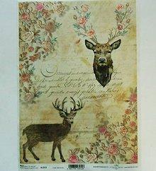 Nezaradené - Ryžový papier na decoupage -A4-R1312- Vianoce, jeleň, retro - 8847192_