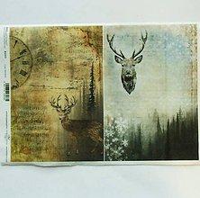 Nezaradené - Ryžový papier na decoupage -A4-R1313- Vianoce, jeleň, les - 8847365_
