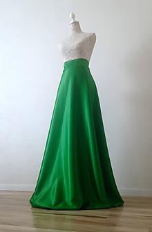 Sukne - Spoločenská saténová sukňa zelená - 8848806_