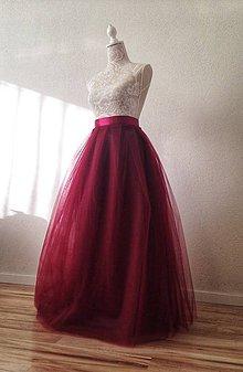 Sukne - Tylová sukňa dlhá bordová - 8849337_