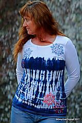 Tričká - Dámske tričko batikované, maľované SNIEŽIK - 8847093_
