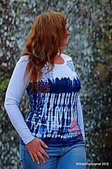 Tričká - Dámske tričko batikované, maľované SNIEŽIK - 8847097_