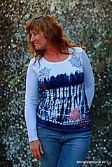 Tričká - Dámske tričko batikované, maľované SNIEŽIK - 8847098_