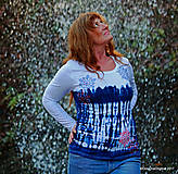 Tričká - Dámske tričko batikované, maľované SNIEŽIK - 8847111_