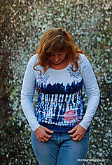 Tričká - Dámske tričko batikované, maľované SNIEŽIK - 8847128_