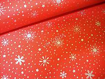 Textil - Bavlnená látka vianočná - strieborné vločky - 8849671_