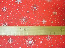 Textil - Bavlnená látka vianočná - strieborné vločky - 8849673_