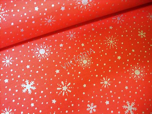 Bavlnená látka vianočná - strieborné vločky