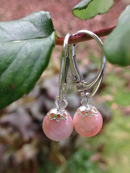 Ružový andský opál - náušnice v striebre