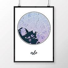 Obrazy - OSLO, okrúhle, modro-fialové - 8849897_