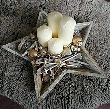 Dekorácie - Adventný svietnik na hviezde - 8847599_