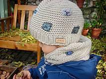 Detské čiapky - Béžová vlnená čiapka s patentom - 8849474_