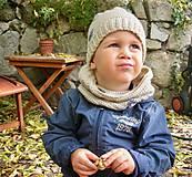 Detské čiapky - Béžová vlnená čiapka s patentom - 8849478_