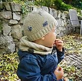 Detské čiapky - Béžová vlnená čiapka s patentom - 8849480_