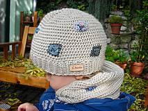Detské čiapky - Béžová vlnená čiapka s patentom - 8849481_