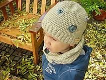 Detské čiapky - Béžová vlnená čiapka s patentom - 8849483_