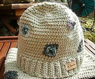 Detské čiapky - Béžová vlnená čiapka s patentom - 8849489_