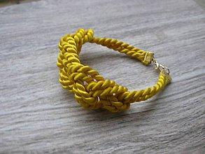 Náramky - Uzlový náramok (žltý č.1619) - 8848397_