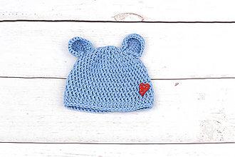 Detské čiapky - Modrá čiapka macko srdiečko zimná EXTRA FINE - 8847407_