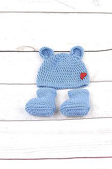 Detské súpravy - Modrá súprava macko srdiečko zimná EXTRA FINE - 8847537_