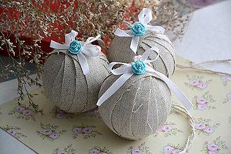 Dekorácie - Vintage Vianoce, ozdoby 3ks - 8847915_