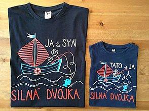 Oblečenie - Originálne maľované tričká pre otca a syna s rybárskym motívom (Detské+dospelácke) - 8848411_