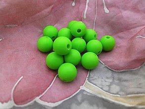 Korálky - Silikónové korálky zelené - 5 ks - 8849147_