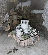 - Vianočná dekorácia so sovičkou v krhličke - 8855343_