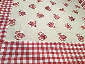 Úžitkový textil - Obrus srdiečkovy s borďurou - 8854453_