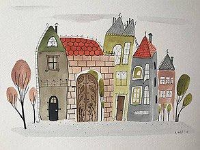 Obrazy - Mesto 29 ilustrácia obraz / originál maľba  - 8851532_