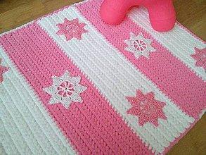 Textil - Háčkovaná deka - ružové a biele hviezdičky - VÝPREDAJ - 8852943_
