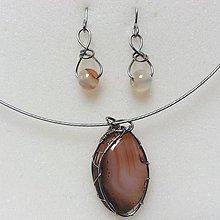 Sady šperkov - sada šperkov s krásnym achátom - 8852747_