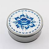 Krabičky - Plechová krabička okrúhla folk kvety 04 - 8851372_