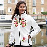 Kabáty - Softshellová bunda folk farebné kvety a vtáčik 04 - 8855993_