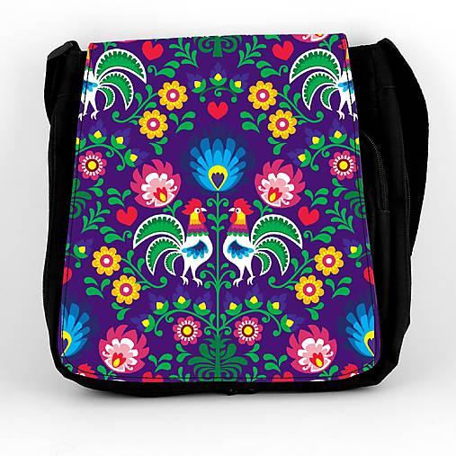 Taška na plece L farebné folk kvety (Fialová)