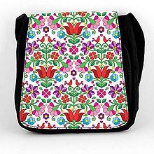 Iné tašky - Taška na plece L farebné folk kvety 04 (Biela) - 8851387_