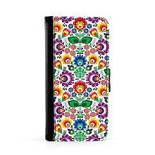 Na mobil - Púzdro na mobil farebné folk kvety . biele alebo čierne (Biela) - 8851400_