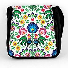 Iné tašky - Taška na plece L farebné folk kvety (Biela) - 8854221_