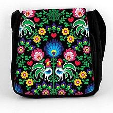 Iné tašky - Taška na plece L farebné folk kvety (Čierna) - 8854242_