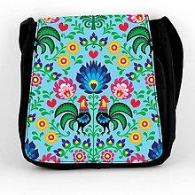 Iné tašky - Taška na plece L farebné folk kvety (Modrá) - 8854258_