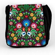 Iné tašky - Taška na plece L farebné folk kvety (Hnedá) - 8854259_